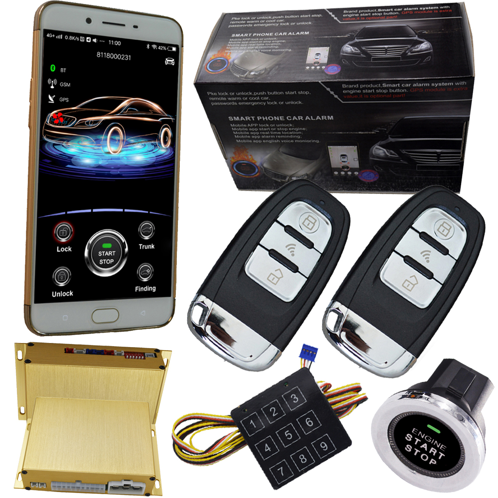 cardot gps keyless go system for cars car central locking system bypass immobilizer output mobile phone app start stop engine easyguard pke car alarm system remote engine start stop shock sensor push button start stop window rise up automatically