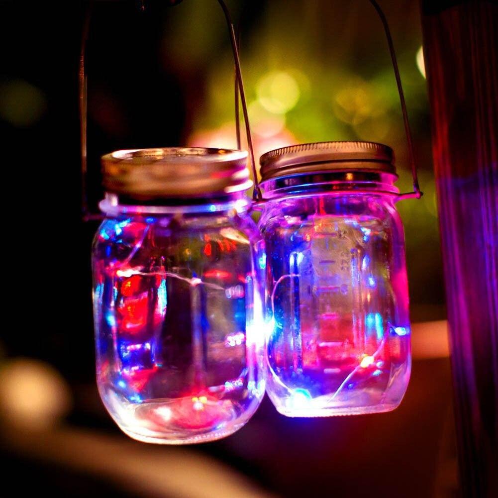 Fashion Solar Lid Light Up String Hanging Lantern 9 LED Powered Canning Decor Luxury Christmas Party Holiday DIY Decorations