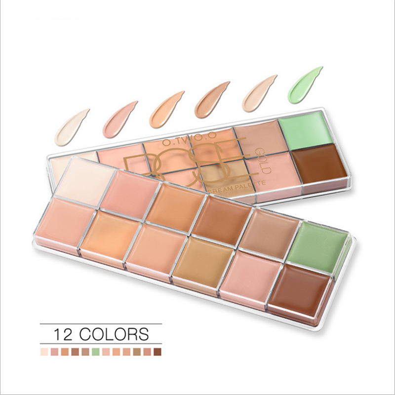 New 12 Color Repair Concealer Plate Long Lasting Makeup Remover Make Up Cosmetics Shadows Waterproof Powder Pearlescent  Pallete