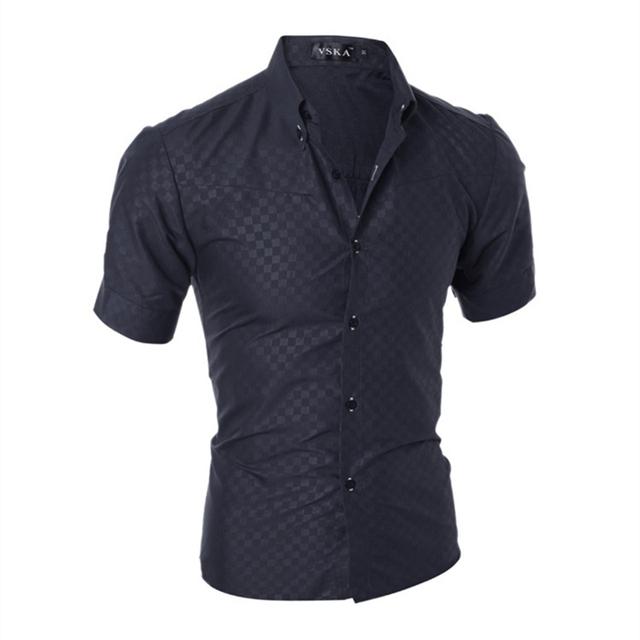 Homens camisa maillot italie euro moda grão escuro grade cultivar a moralidade camisa de manga curta camisa slim fit masculina