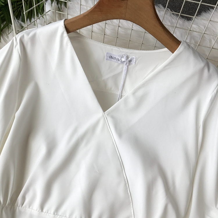 2109 Spring Women V-neck Puff Sleeves Blouse Slim Tunic Tops Retro Vintage Pullovers Busos Para Mujer Kimonos 94