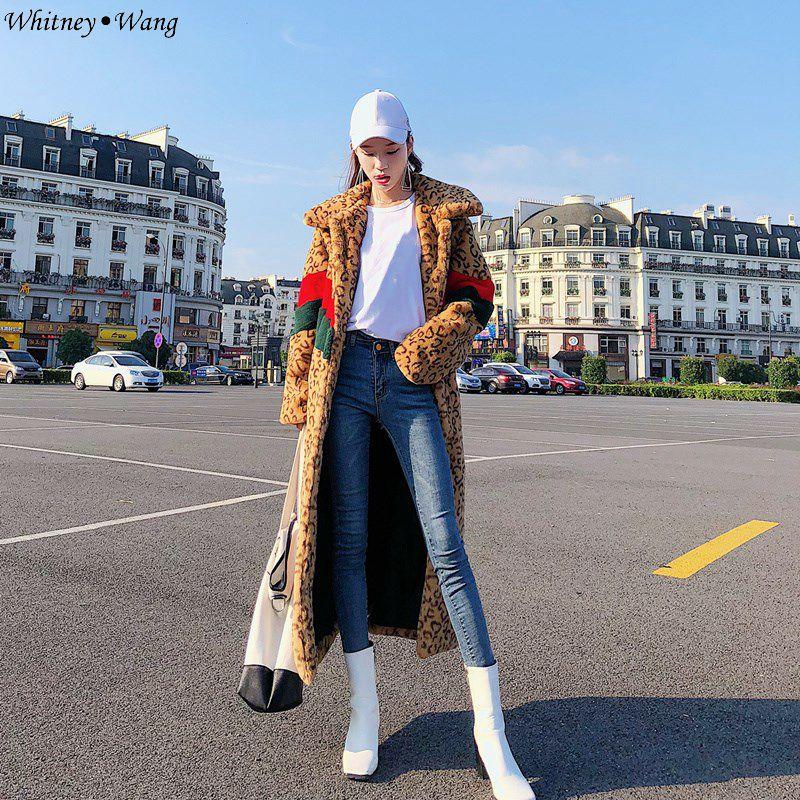 Vintage Léopard 2018 Fausse Contraste Wang Manteau Femmes Colros Style En D'hiver Hiver Mode Streetwear Fourrure Whitney Multi Long Automne OPYx5pwcq