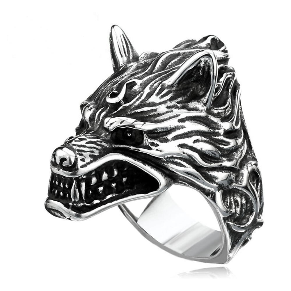 Punk Party Wolf Head Rings For Men Luxury Vintage Ring Dropshipping Bulk Jewelry(China)