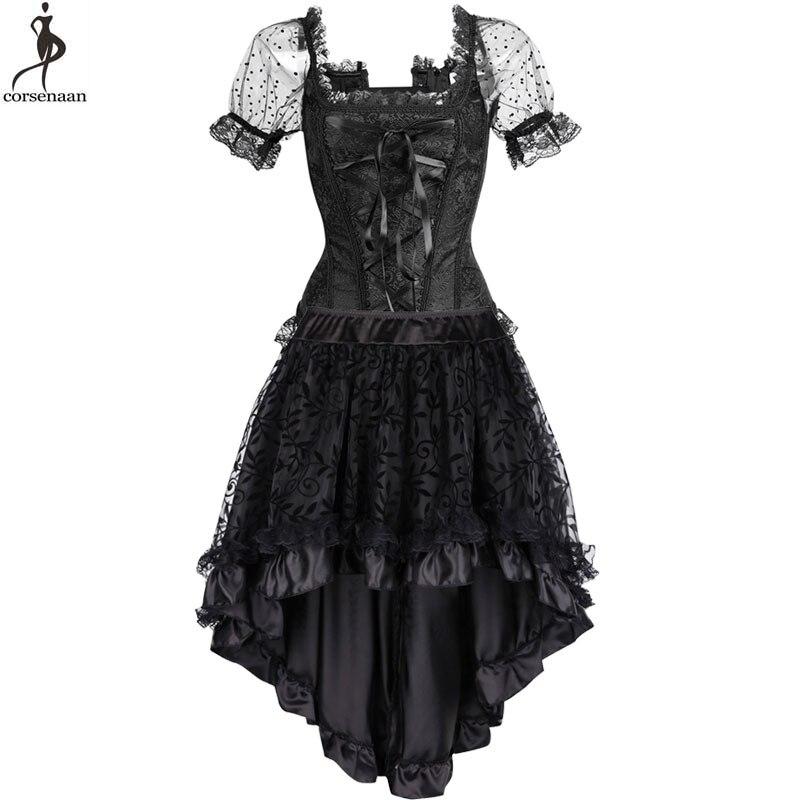 Corset   Dress Suit Steampunk   Bustier   Dresses Retro Vintage Costume burlesque Summer Clubwear Gorset Top Skirt Set Fashion Elegant