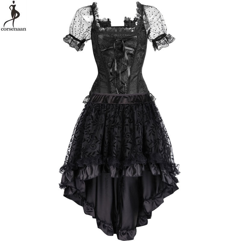 Corset Dress Suit Steampunk Bustier Dresses Retro Vintage Costume Burlesque Summer Clubwear Gorset Top Skirt Set Fashion Elegant