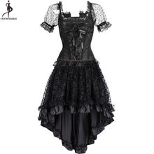 Corset robe Costume Steampunk Bustier robes rétro Vintage Costume burlesque été Clubwear Gorset Top jupe ensemble mode élégant(China)