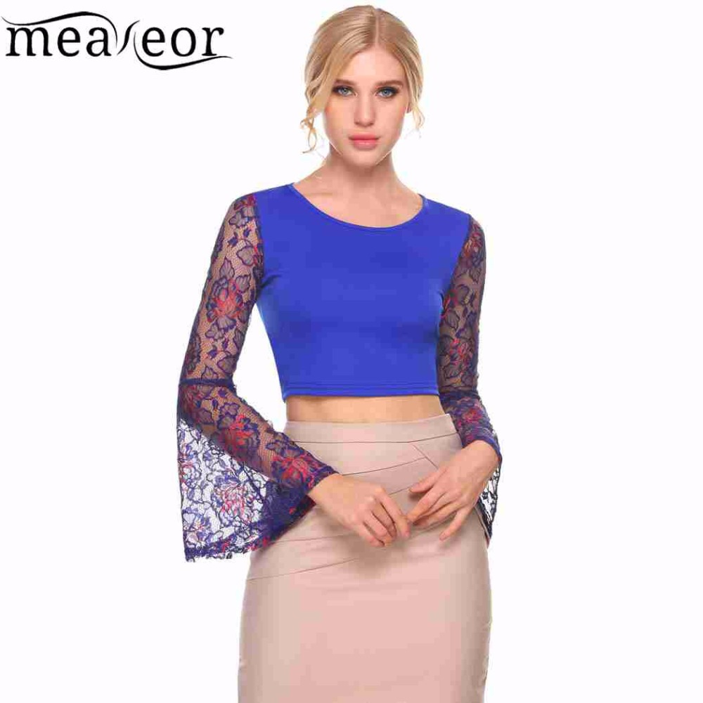 91b71b04713e0 Meaneor Apparel Summer Style Elegant Lace Crochet Crop Top Girls Lace Long  Sleeve Patchwork Women Sexy Hollow Out Tops-in T-Shirts from Women s  Clothing on ...