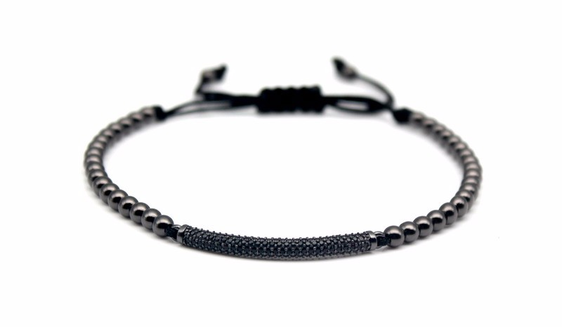 Top Fashion Cubic Zirconia Charm Men's Bracelets Famous Boys Micro Pave Trendy Braiding Strand Black Macrame Beads Bracelets. 6