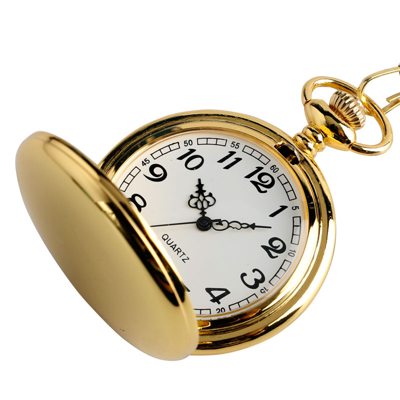 Fashion Luxury Smooth Golden Steel Steampunk Quartz Pocket Watch Men Women Clock Necklace Pendant Chain Gift reloj de bolsillo retro steampunk bronze pocket watch eagle wings hollow quartz fob watch necklace pendant chain antique clock men women gift