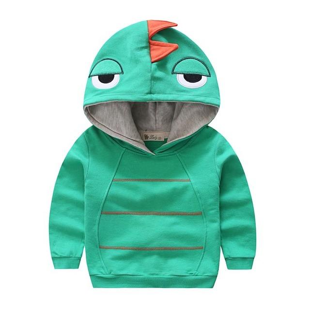 2016 Niños Del Otoño Del Resorte Con Capucha tops Outwear Bordado Animal dinosaurio Niños hoody pullover Niño Ropa de Chicos de moda