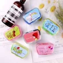 Colored Contact Lens Case with Mirror Women Cute Contact Lenses Box Eyes Contact Lens Container Lovely Travel Kit Box cheap KLASSNUM Unisex Eyewear Accessories cartoon Cases Bags