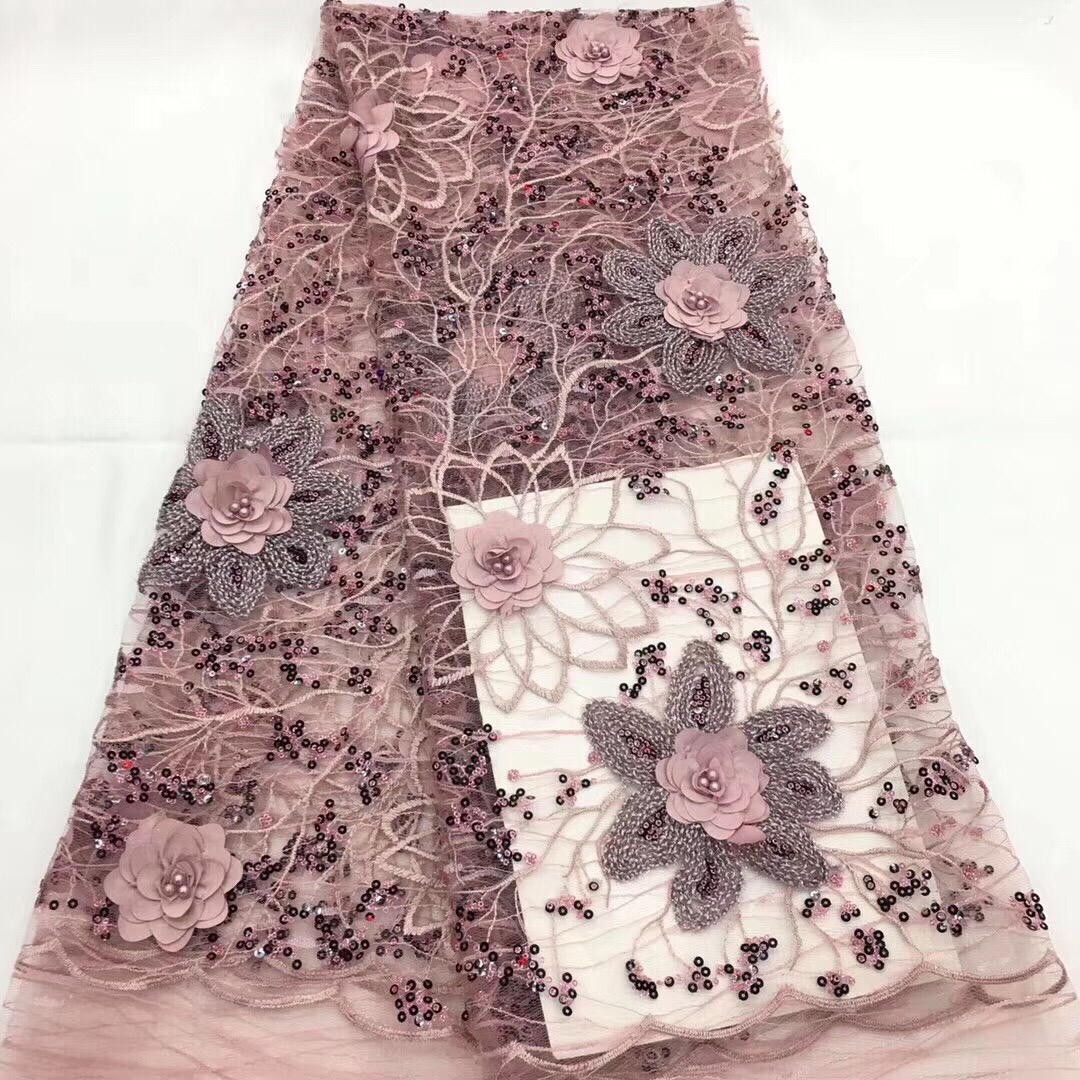 High Quality Nigerian 3D Wedding Lace Fabric pink Latest African Laces 2018 French Net Lace Fabric