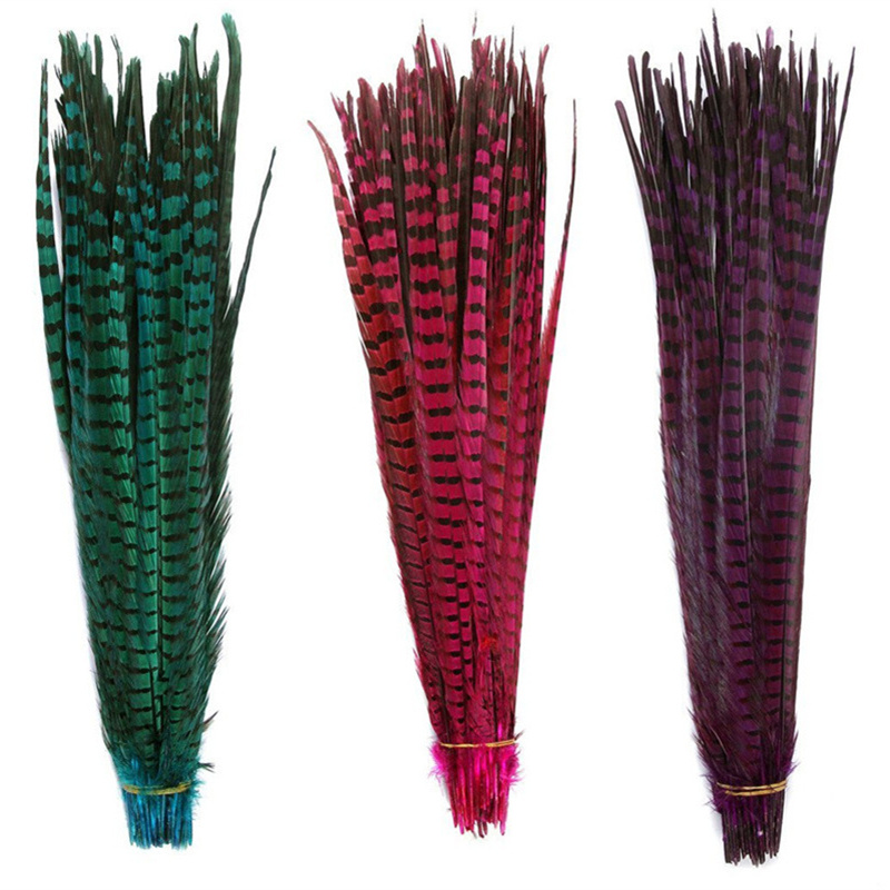 """10 Feathers20-22/"""" Purple Bleached /& Dyed Long Ringneck Pheasant Tail Wedding"""