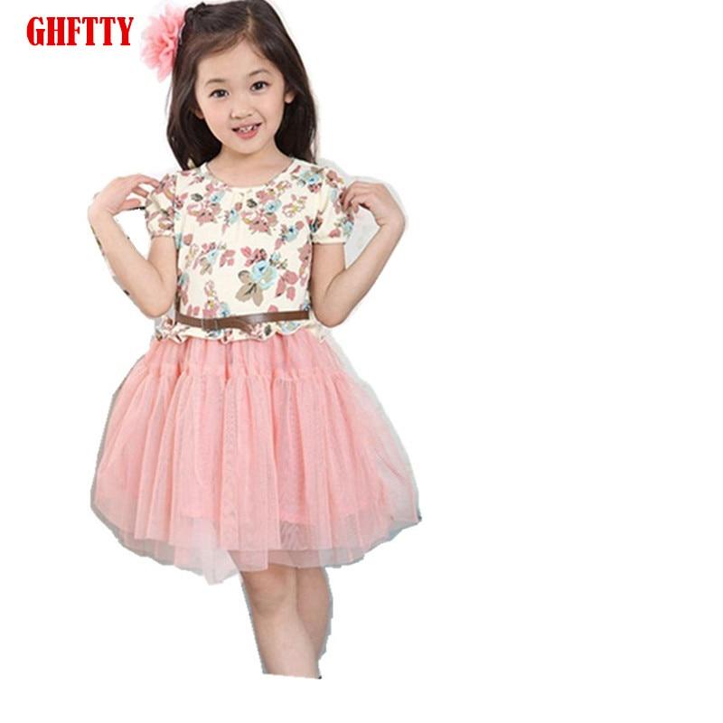 Hot sale 2017 New Arrival Summer big girl flower dress Children tutu dress for girls baby girl clothes short sleeve girls prince