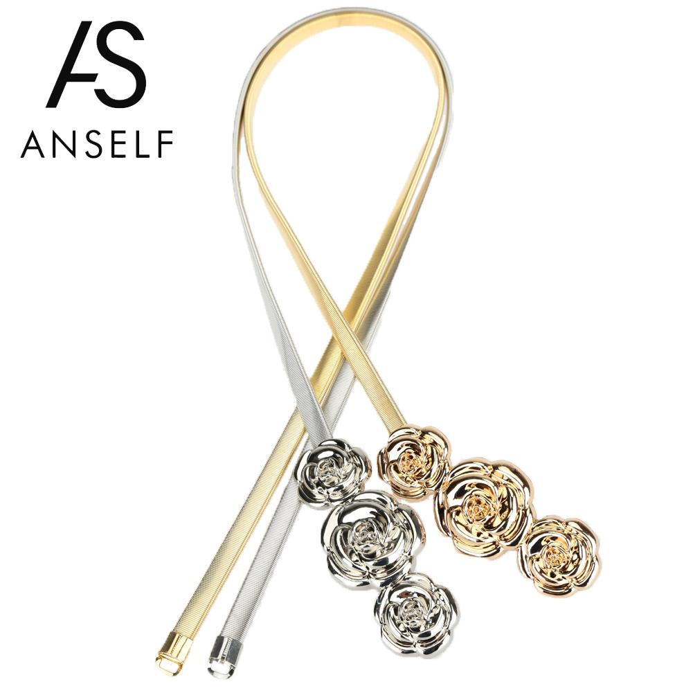 Anself   Belts   for Dress Chic Fashion Women Metal   Belt   Rose Clasp Front Stretch Spring Waist Strap Elastic Waistband Gold/Silver