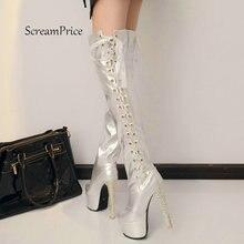 Bottines Sexy à semelle haute pour femme, chaussures Sexy pour boîte de nuit, épaisses, à la mode, noir, blanc, or, argent
