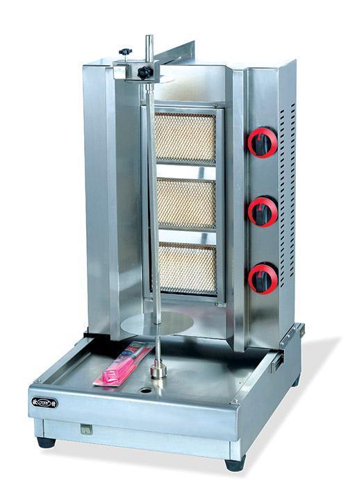 3(three) burners gas bbq shawarma machine, turkish meat string roasting machine, gas vertical rotary rotisserie kebab machine