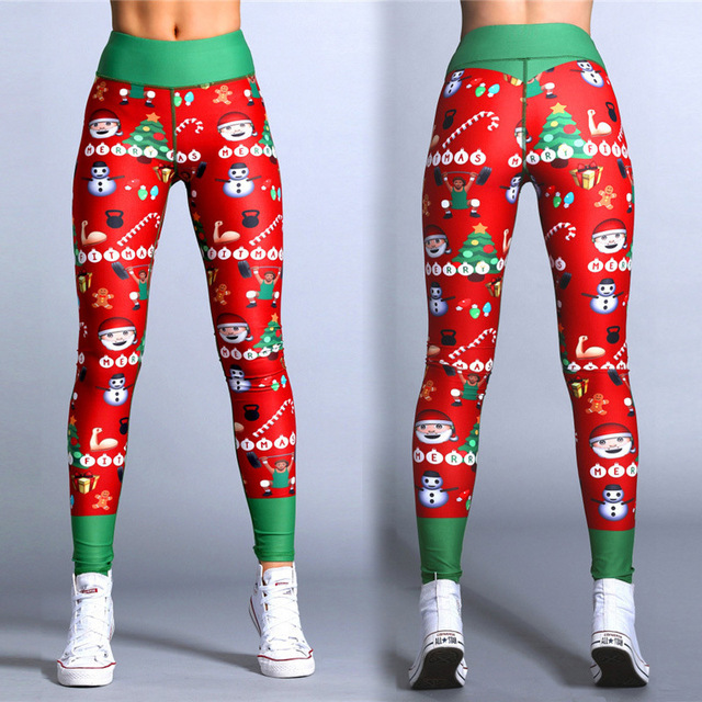 Polyester Red Christmas Striped Print Legging 5