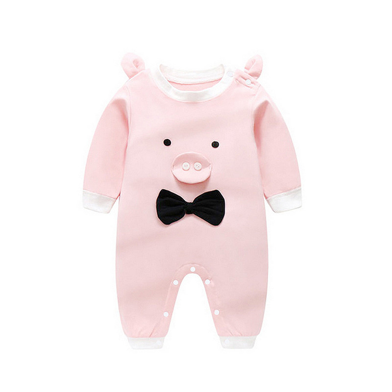 Cute Baby Boy Girl Pink   Romper   Jumpsuit Outfits Cotton Lion Pig Long Sleeve for Newborn Infant Children Clothes Kid Clothing