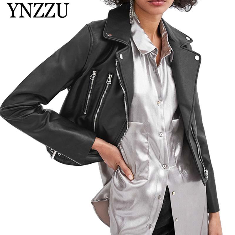 YNZZU haute qualité Faux cuir veste femmes 2019 printemps noir fermeture éclair manches longues PU Bomber veste automne pilote manteau femmes YO793