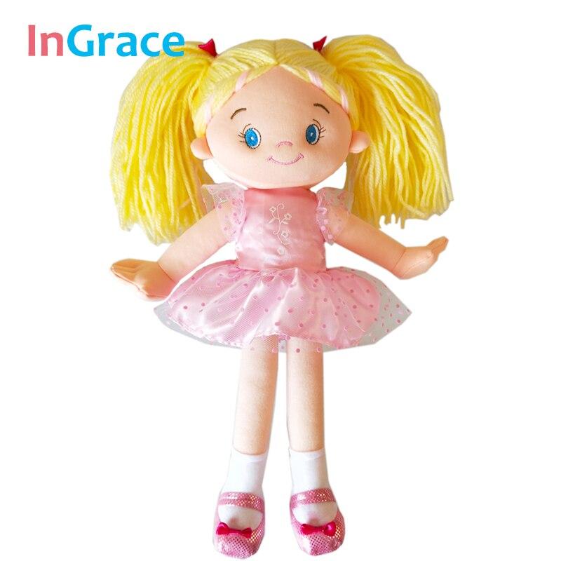 Ingrace Rag Doll Cloth Face Yellow-Hair Girls Children Tutu-Dress For High-Quality Pink