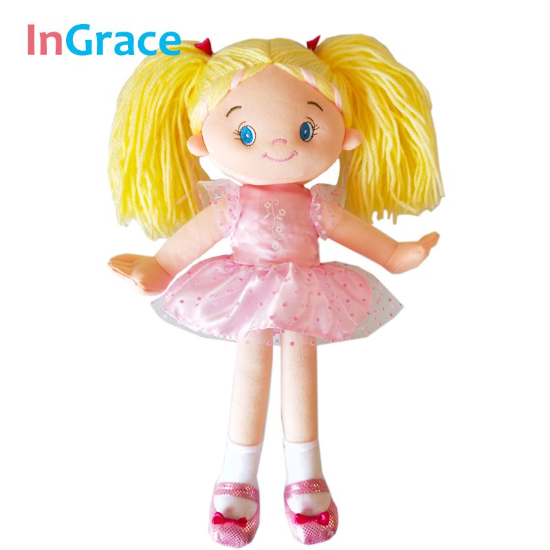 InGrace Pink Rag Doll for Girls High Quality Cloth Doll for Children Best Gift 35CM Tutu Dress Doll Cute Face Yellow Hair