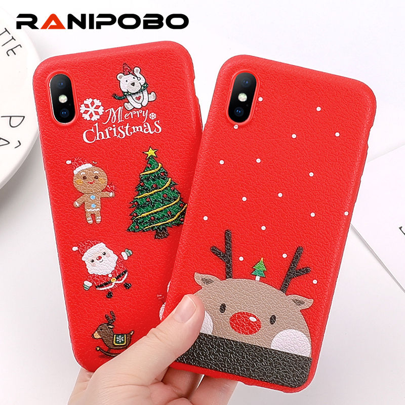 388b52cf4ea504 Lovely Santa Claus Elk Christmas pattern Phone case For iphone 6 6S Plus 7  8 Plus X Merry Christmas Tree Cute Back Cover Gift