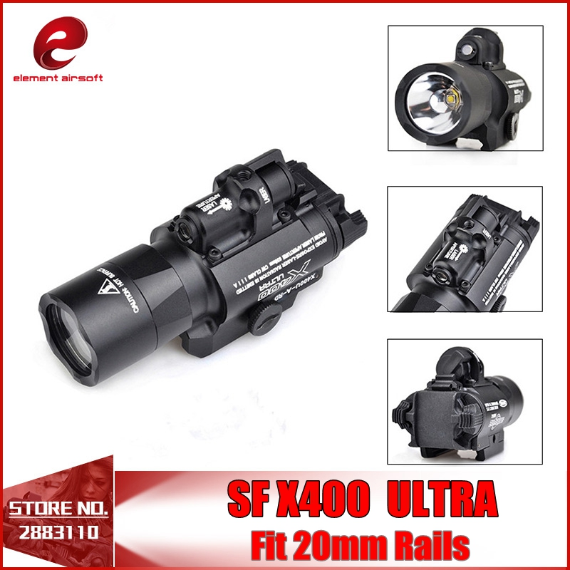 Element SF X400 CREE Ultra High Output LED Pistol M4 Rifle Flashlight Red Dot Laser Combo Sight 20mm Picatinny Rail Mount EX367 hunting compact tactical green laser sight flashlight combo low profile pistol handgun light with 20mm picatinny rail