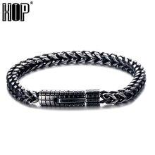 цена на HIP Hop 22cm Royal Black Color Men Bracelet 316L Stainless Steel Curb Cuban Link Chain Bracelets For Men Women Jewelry