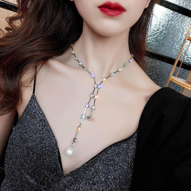KingDeng Pearl Choker Necklaces Layered Necklace Women Jewelry Wild Fashion Romantic Zinc Alloy Geometric Pendent
