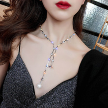 KingDeng Pearl Choker Necklaces Layered Necklace Women Jewelry Wild Fashion Romantic Zinc Alloy Geometric Pendent