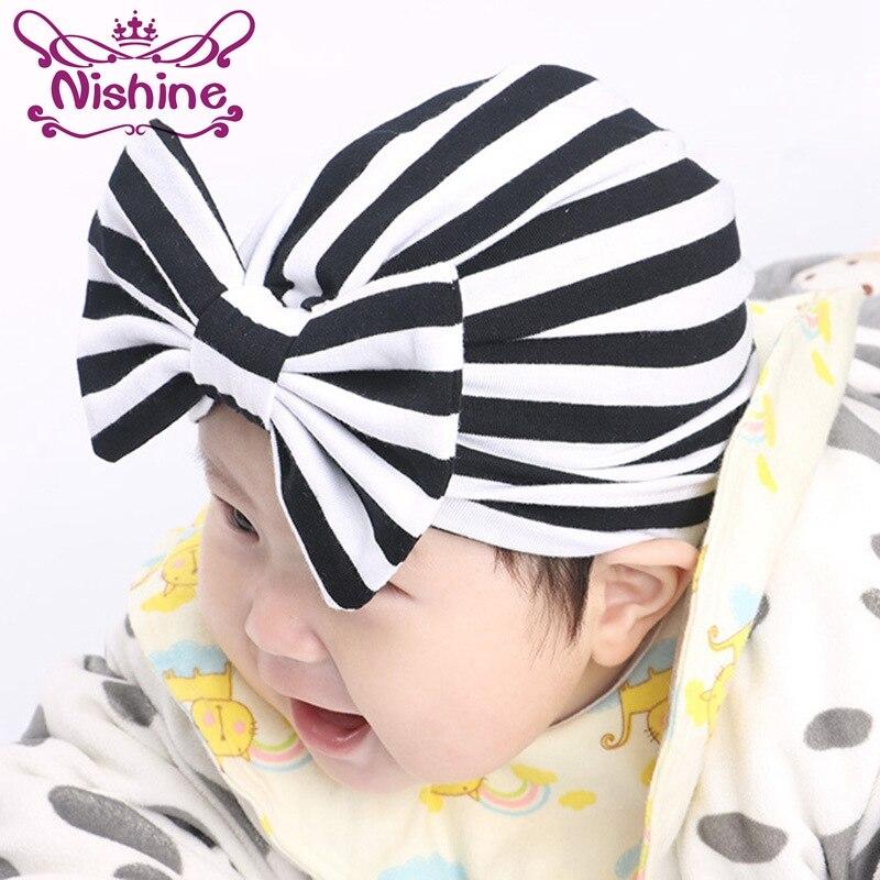 Nishine Stripe Indian Hat Girls Kids Turban Headband Hair Head Bands Accessories for Children Headwrap Hair Ornaments Bandanas