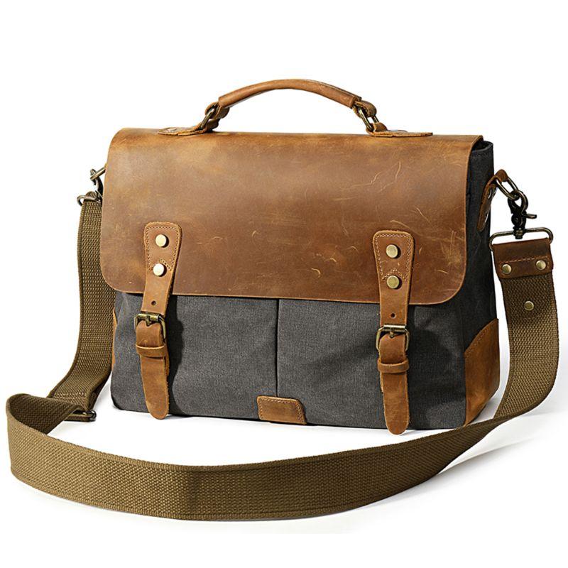 Man's Canvas Briefcase Business Shoulder Crossbody Bag Messenger Bag
