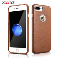 XOOMZ for iPhone 7 Plus Genuine Leather Business Case for Apple iPhone 7plus Leather Case i7plus Luxury Gold Plated Rim