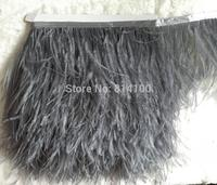 2yards/lot Deep Grey colors Ostrich Feather Plumes Fringe trim 10-15cm Feather Boa Stripe for Party Clothing Accessories Craft