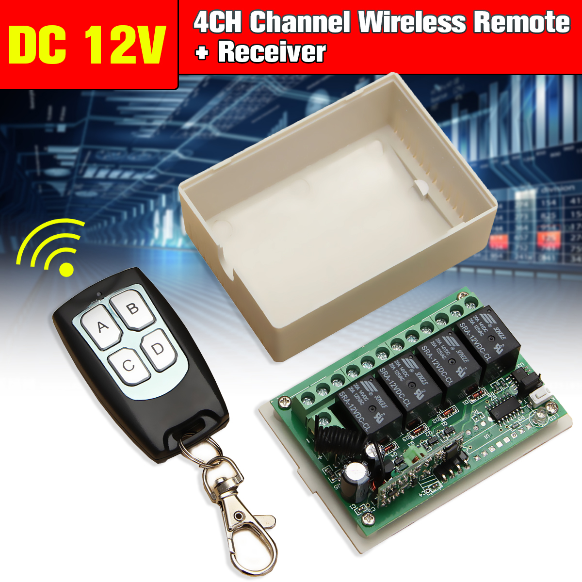 DC 12V 4CH 433MHz Small Channel Wireless Remote Control Controller Radio Switch 200m Transmitter + Receiver Interlock Self-lock