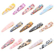 15 Colors Women Girl Sweet Candy Colored Acetate Hair Clip Marble Texture Water Drop Duckbill Hairgrip Elegant Styling Barrettes