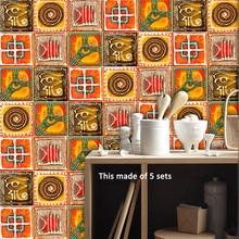 Retro Italian Pattern Tiles Wall Sticker Adhesive Waterproof Waist Line Art Decal Kitchen Bathroom Home Decoration Accessories