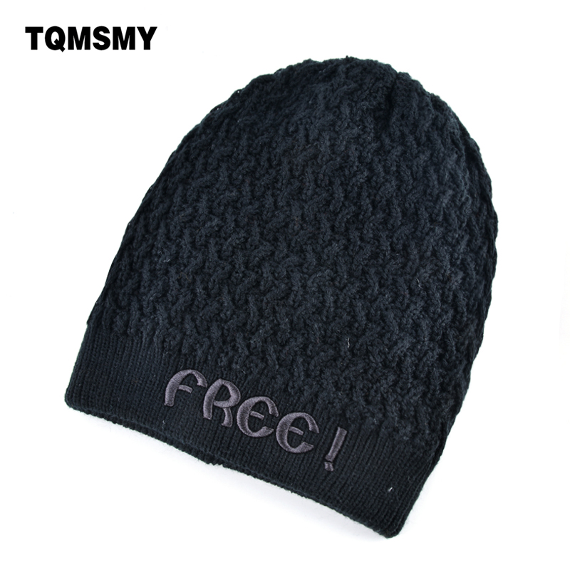 Warm winter hat men's beanies embroidery letters bone Double layer Hip-hop Cap Knitted wool hats for men caps plus velvet gorros woman warm letters fukk knitted hats winter hip hop beanie hat cap chapeu gorros de lana touca casquette cappelli bonnets rx112