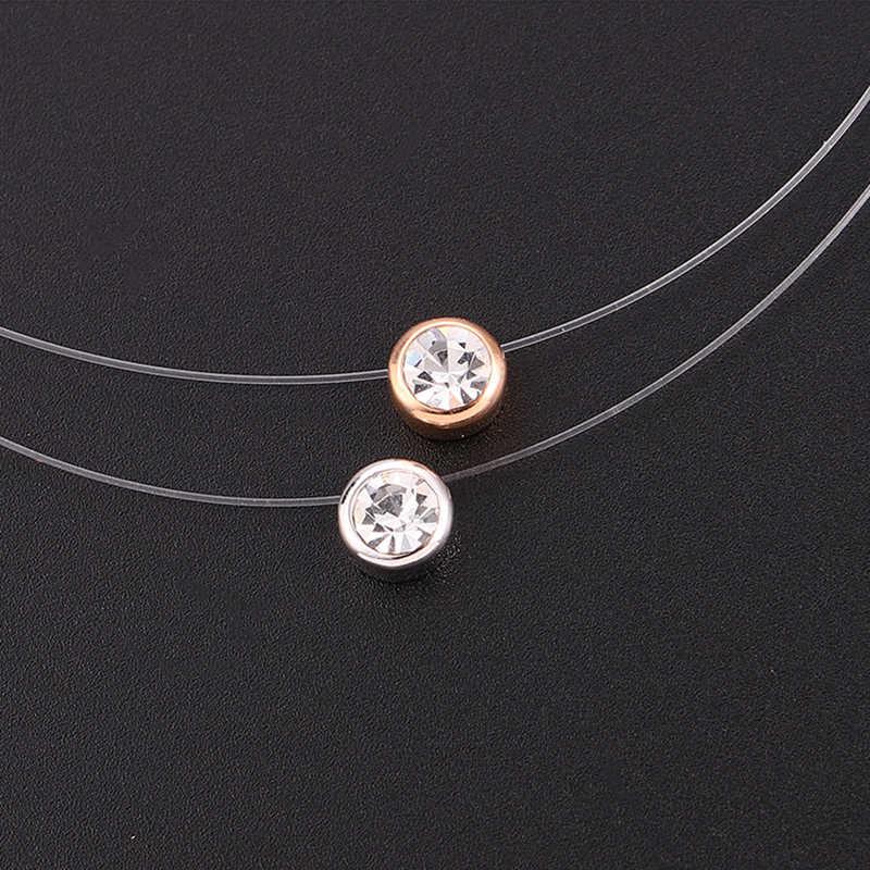 Baffin femmes Invisible ligne Collier Simple rond cristaux de tchèque pendentif Choker Transparent ligne de pêche Collier Femme 2019
