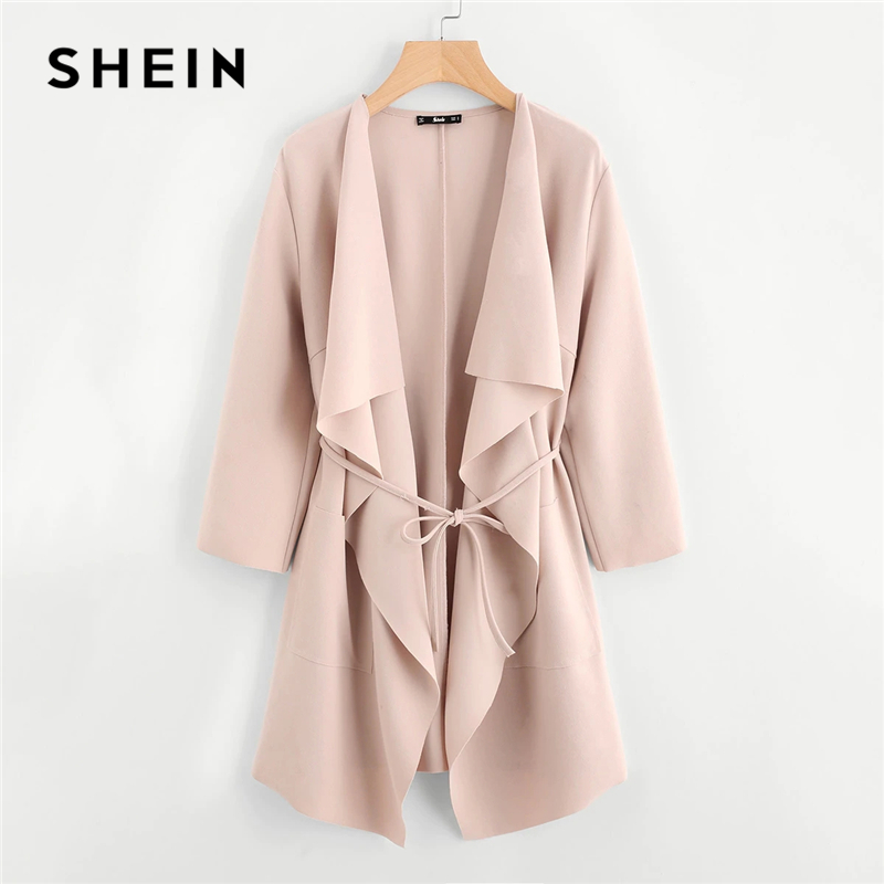 SHEIN Coat Outerwear Waterfall-Collar Autumn Women Spring Long-Sleeve Double-Pocket Casual