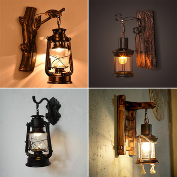 Hand-carved classic retro style led wall lights glass+ wood for stairs step hallway, American vintage led wall lamp bedside