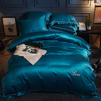 Washed Silk fiber Summer bedding set cotton cool bed set embroidery duvet cover fitted sheet flat sheet 4pcs bedclothes home bed