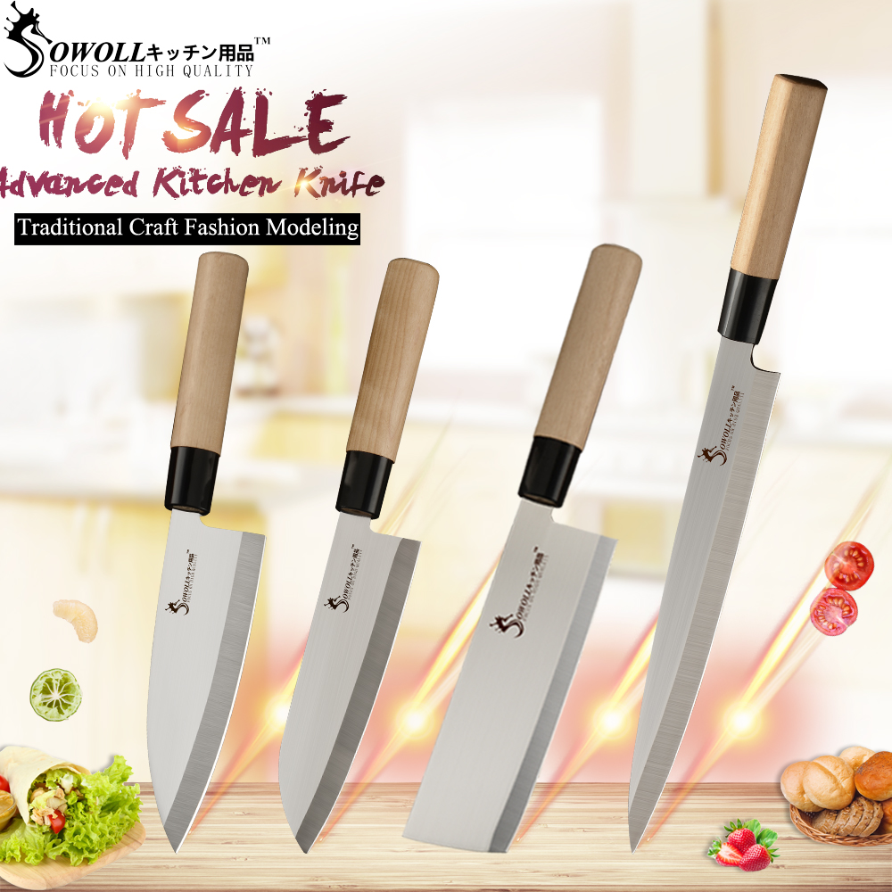 SOWOLL Kitchen Knife Slicing Sushi-Sashimi Chef Japanese Ultra-Sharp Blade Stainless-Steel