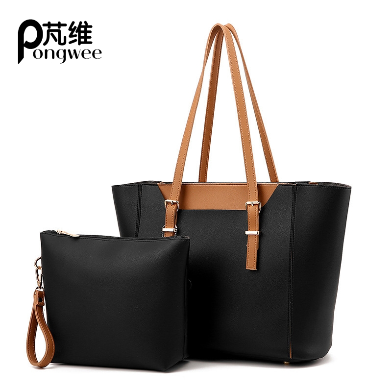 PONGWEE Luxury PU Leather Classic Brand Designer Large Bag Set Tote Hanbags Women New Handmade Patchwork Shoulder Bags