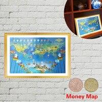 WR Decoración para el hogar pared arte pintura dinero Mapas W/monedas marco salón Cuadros decorativos impresión del arte moderno