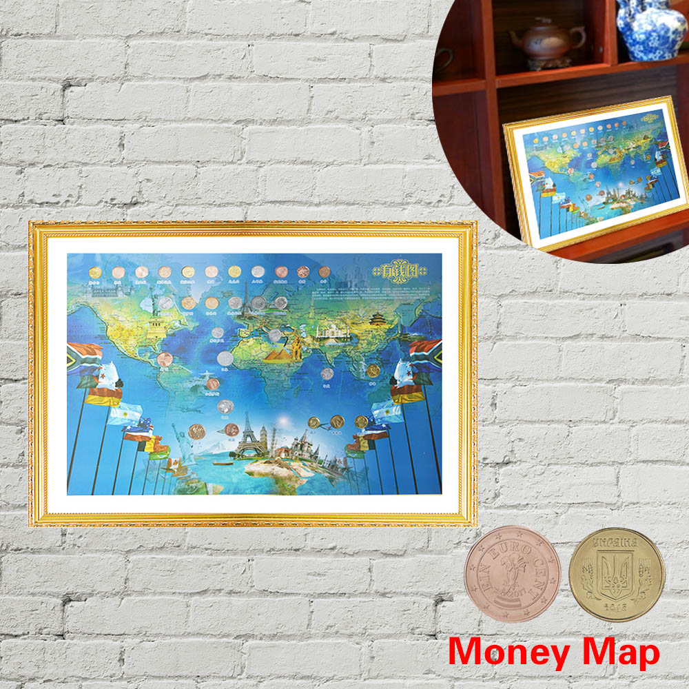 WR Hauptdekorwandkunst Malerei Geld Karte W/Münzen Rahmen Wohnzimmer Dekorative Bilder Modernen Kunstdruck