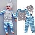 Bebé recién nacido Niños Niñas Infantiles Ropa de Algodón Tops Camisetas de la Estrella de Manga Larga Pantalones Casuales Muchacha Del Sombrero Del Bebé Que Arropan el sistema