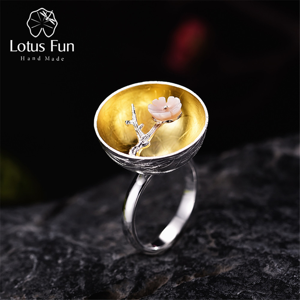 charming simple style wintersweet cuff ring for women Lotus Fun Real 925 Sterling Silver Natural Handmade Fine Jewelry Flower Ring The Aroma of Wintersweet Rings for Women Bijoux