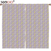 Window Curtains Treatments 2 Panels Floral Yellow Toned Vertical Ornamental Flowers Pattern Spring Theme Yellow Light